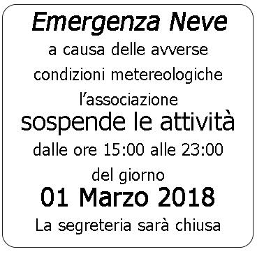 1 Marzo 2018 – Emergenza Neve